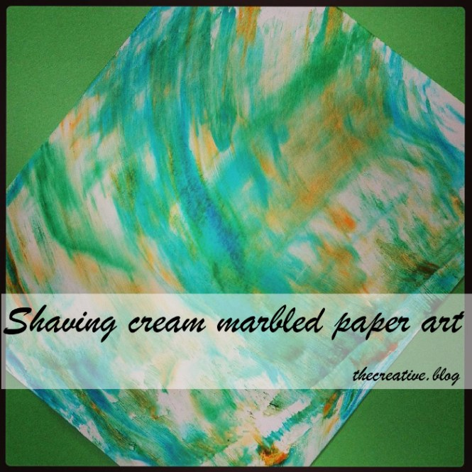 shaving cream marbled paper art / craft