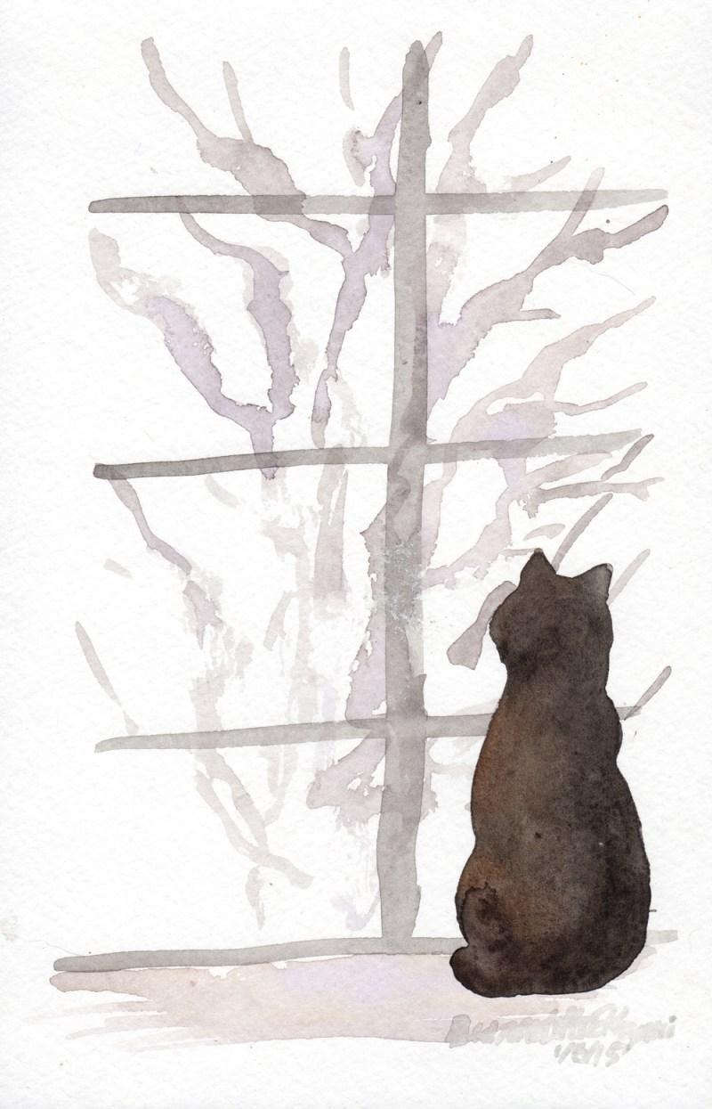 watercolor of black cat on windowsill