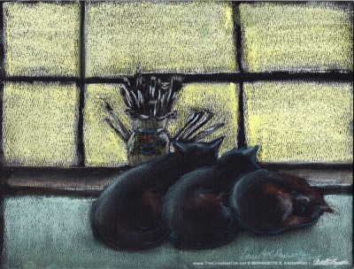 """Studio Morning Shift"", pastel on black pastel paper, 9 x 12 © Bernadette E. Kazmarski"