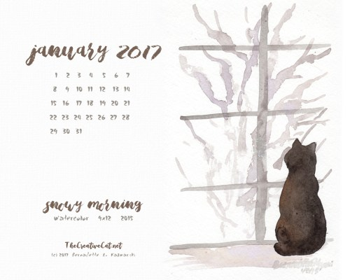 """Snowy Morning"" desktop calendar, 1280 x 1024 for square and laptop monitors."
