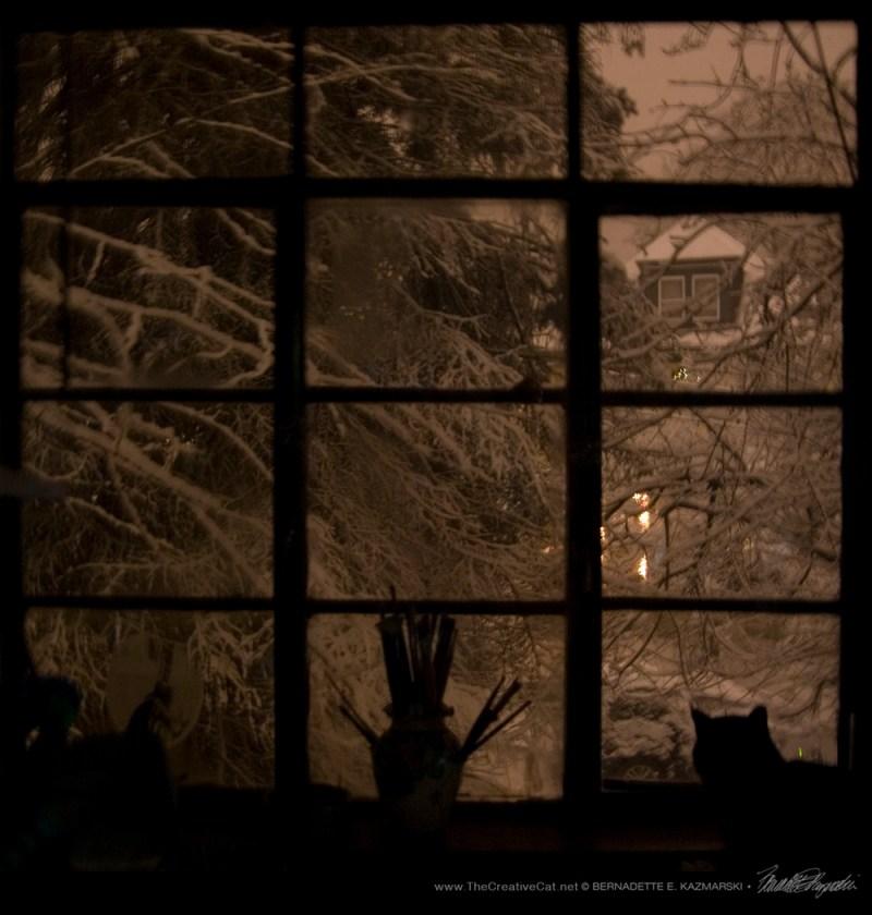 Snow at night at my studio window.