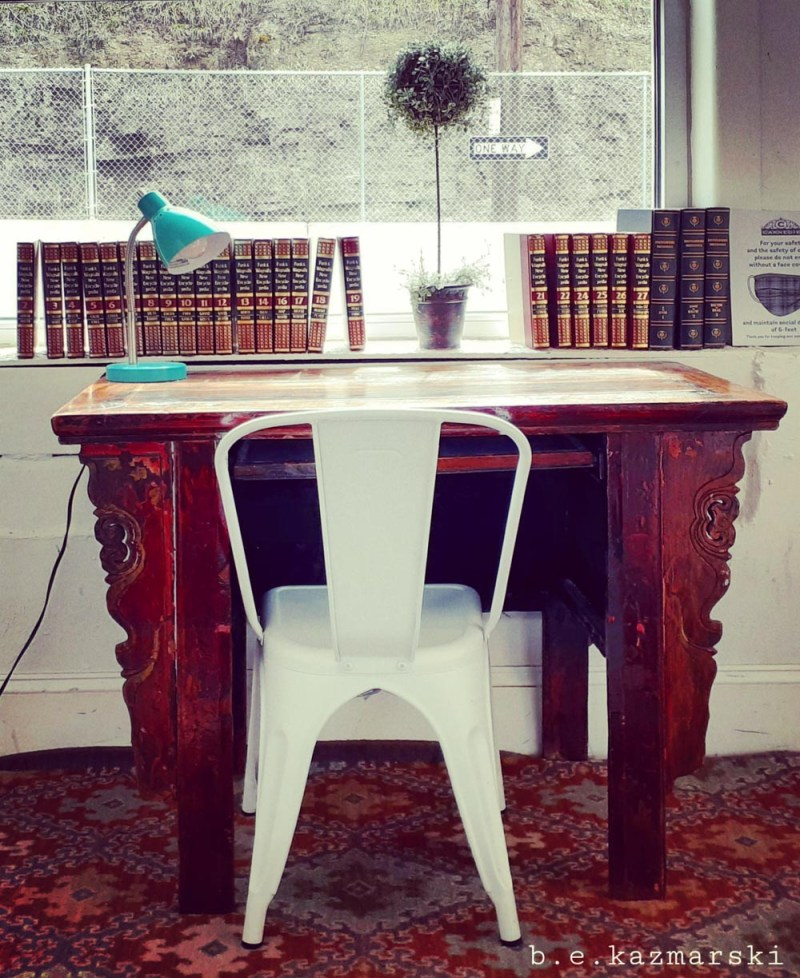 desk at coffeehouse