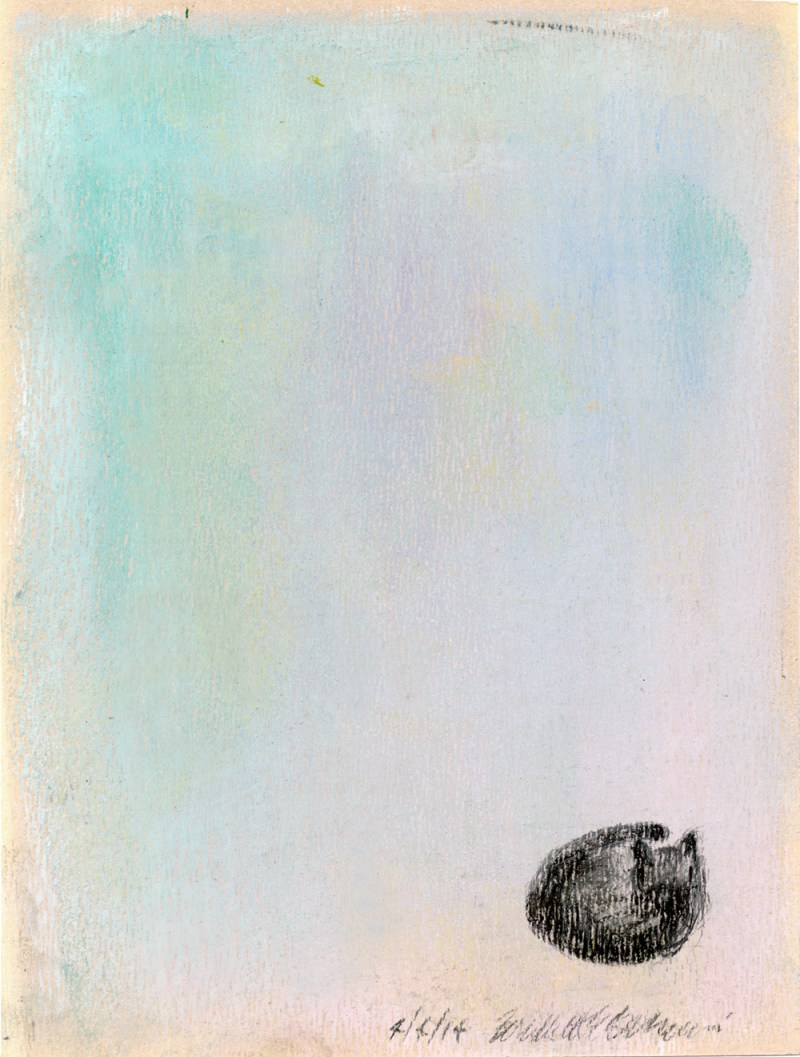pastel sketch of small black cat on pastel background