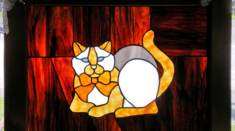 stained glass cat window