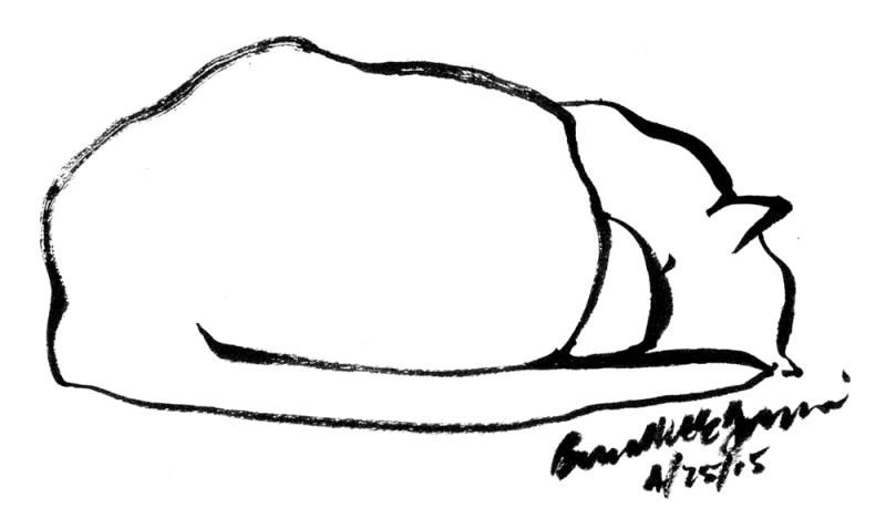 """""""Tucked In"""", brush pen, 3.5"""" x 6"""" © Bernadette E. Kazmarski"""