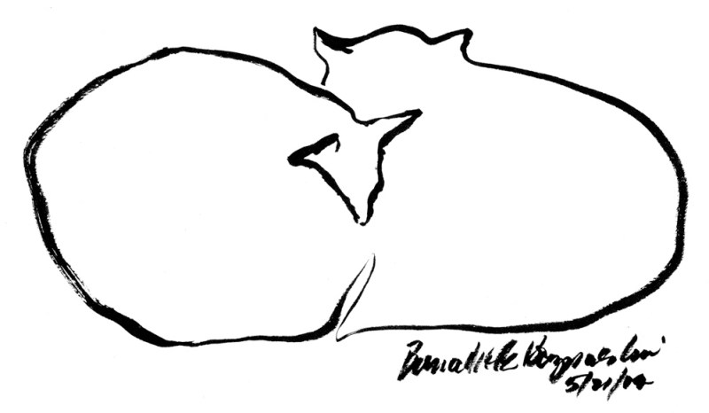 brush pen sketch of two cats