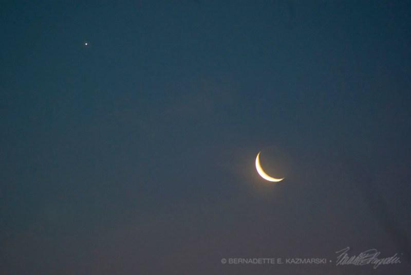 Crescent moon and Venus.