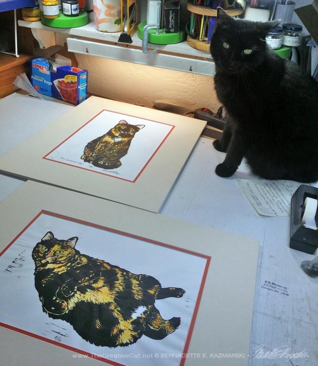black cat with block pritns