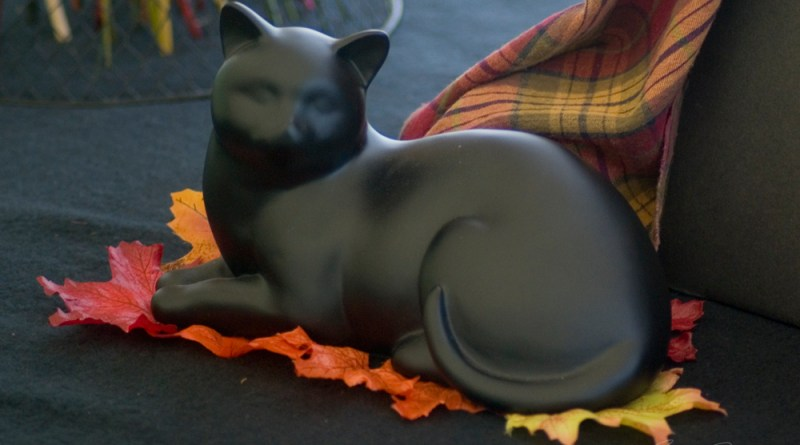Black cat figurine on the memory table.