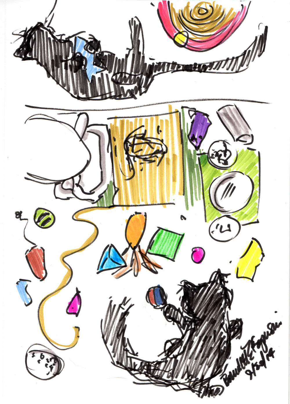 Daily Sketch Reprise: The Kitten Room, 2014