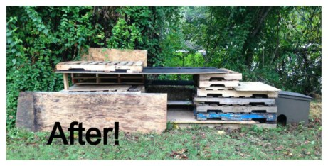 shelter made of packing pallets