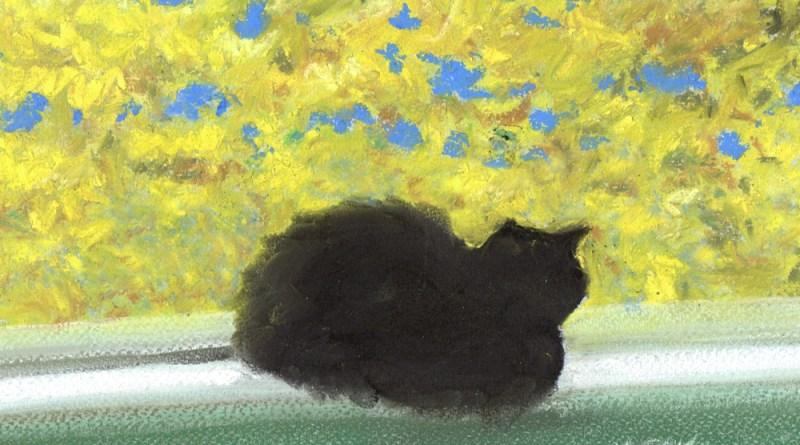 pastel painting of cat on windowsill