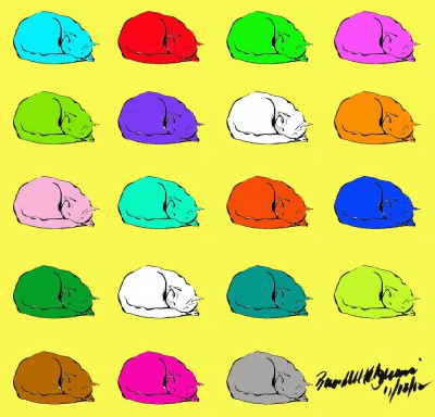 pattern of colorful cats