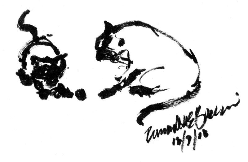 ink brush drawing of two cats playing