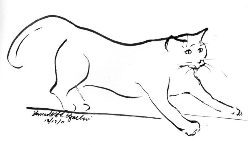 """""""The Little Panther"""", brush marker, 7"""" x 5"""" © Bernadette E. Kazmarski"""