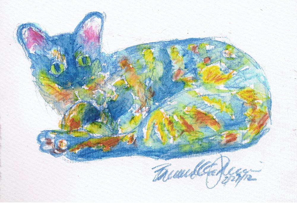 watercolor pencil drawing of tortoiseshell cat