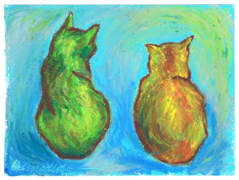 oil pastel sketch of two cats