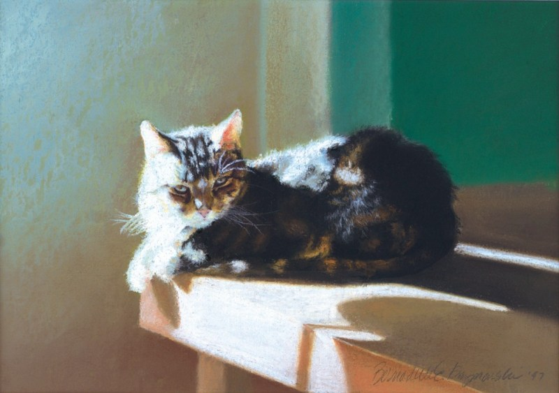 pastel painting of cat on table