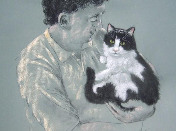 pastel portrait of man and cat