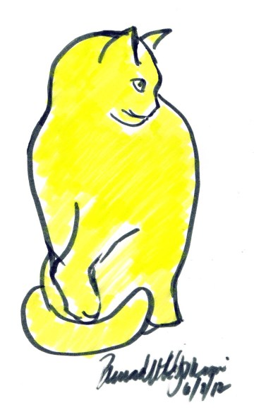 marker sketch of yellow cat
