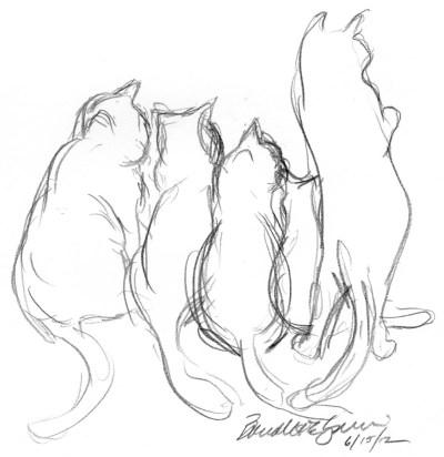 pencil sketch of five cats