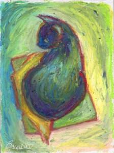 oil pastel sketch of cat