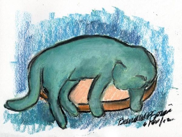 pastel sketch of cat sleeping on stool