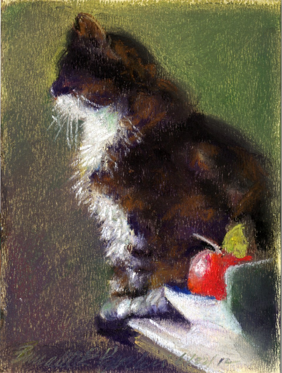 pastel sketch of cat on table with apple
