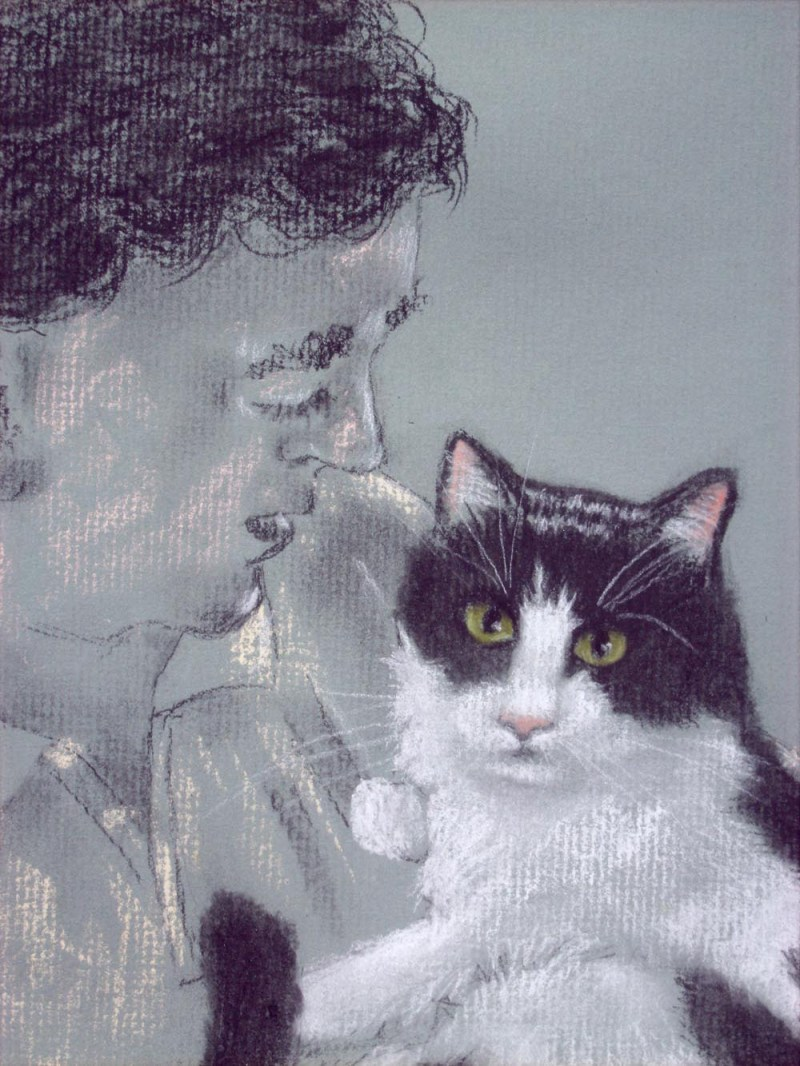 Detail of portrait of man with tuxedo cat