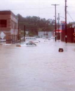 Flash flooding in Carnegie, PA during Hurricane Ivan in 2004.