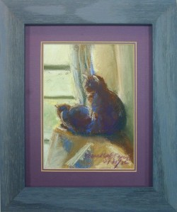 framed pastel painting of two cats at window