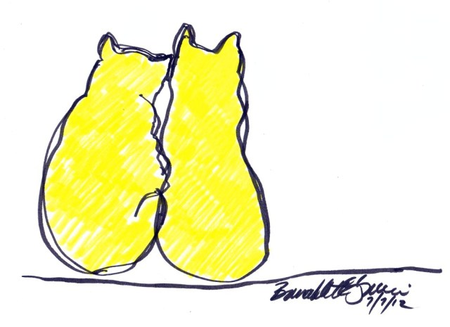 marker sketch of two cats