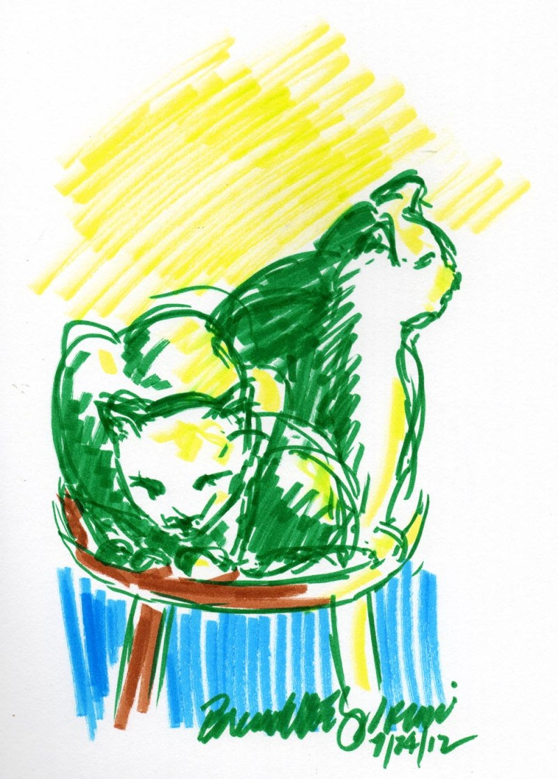 marker sketch of two cats on chair