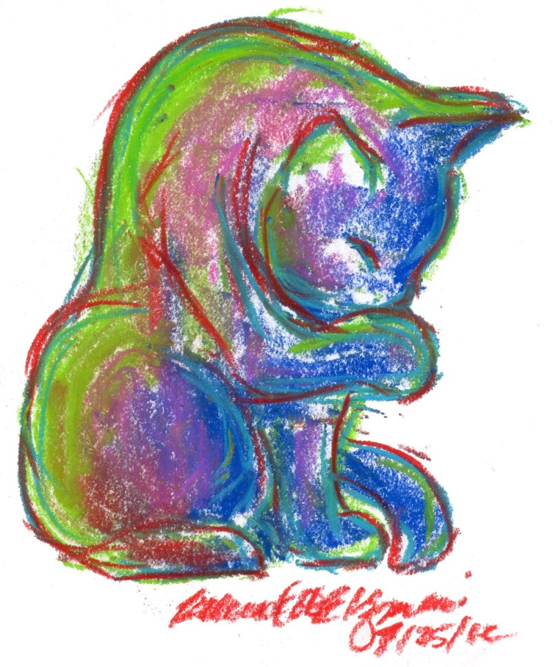 colorful pastel sketch of cat