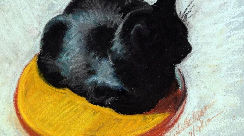 pastel sketch of black cat on stool