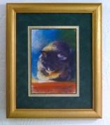 framed pastel sketch of cat