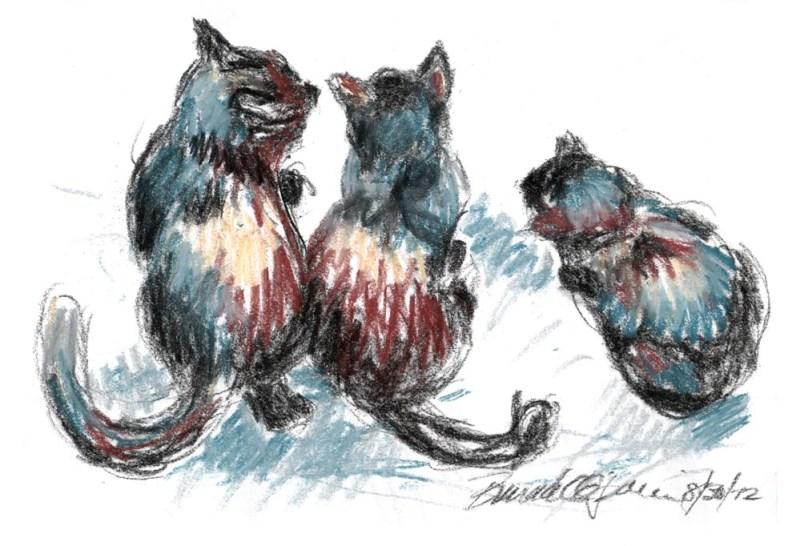 pastel sketch of three cats looking out door