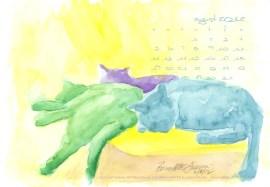 desktop calendar watercolor of three cats