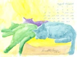 desktop calendar watercolor cats