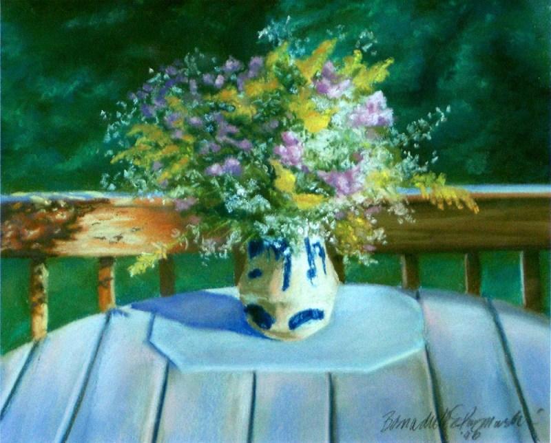 pastel painting of vase of autum wildflowers