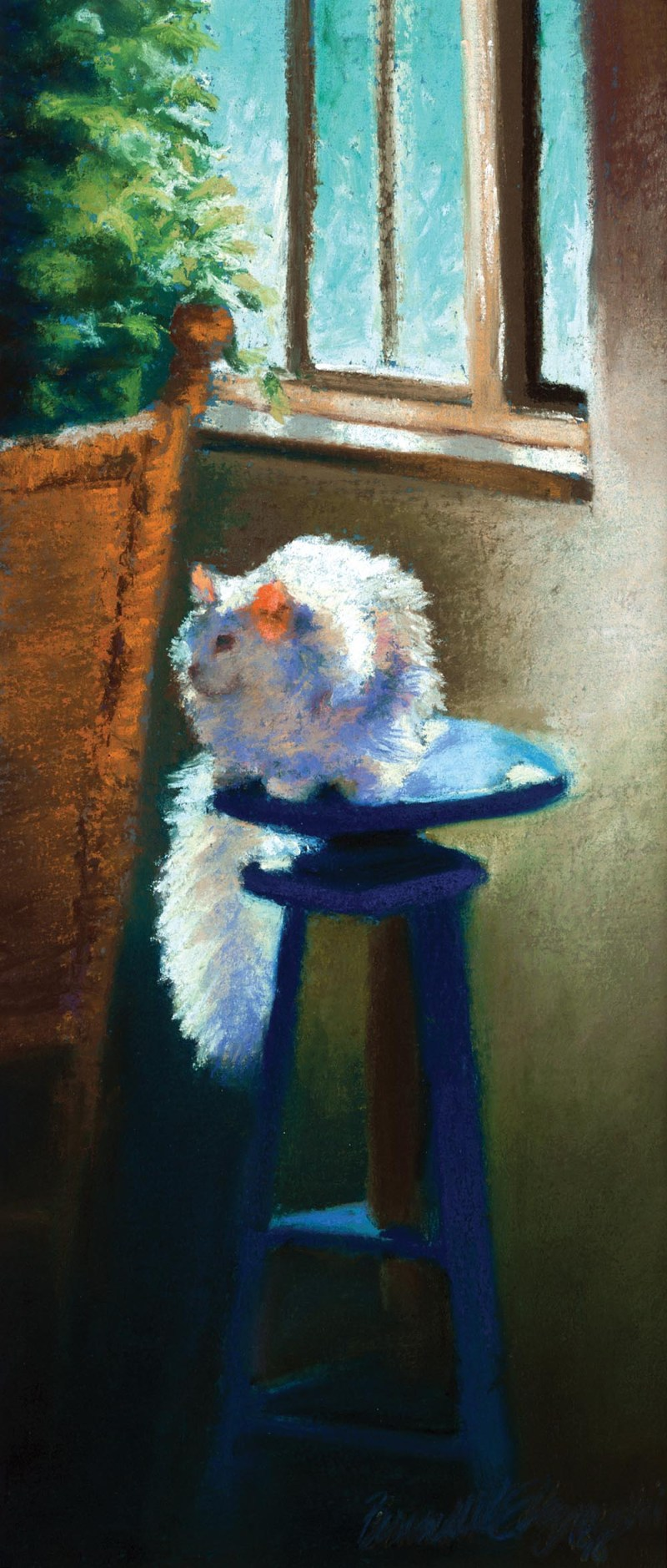 pastel painting of white cat on stool