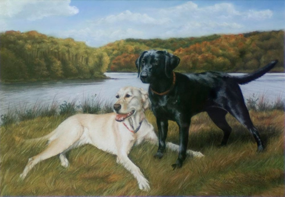 pastel portrait of two labs