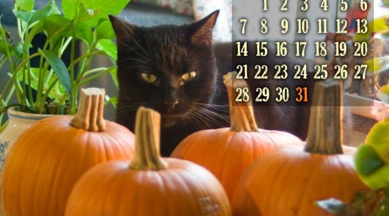 desktop calendar with black cat and pumpkins