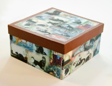 keepsake box with cat art
