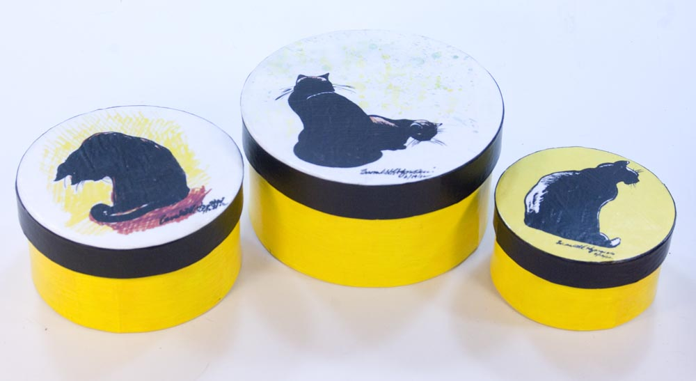 Set of keepsake boxes with black cats