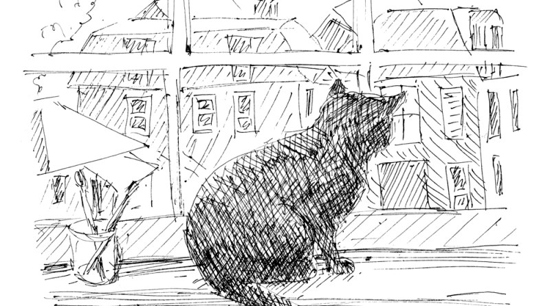 ink sketch of black on windowsill