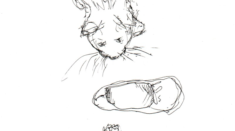 sketch of cat, slippers and cat toy