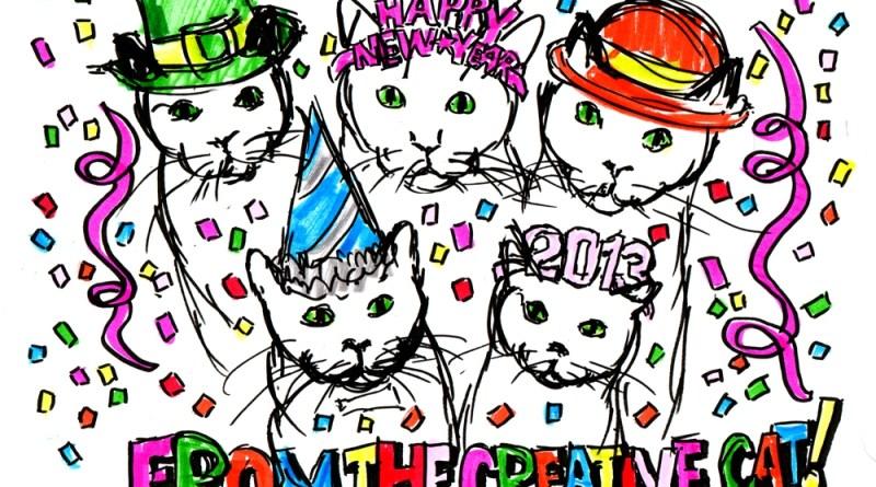 cartoon of five cats