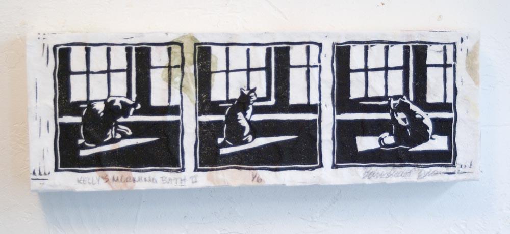 mounted block print of cat