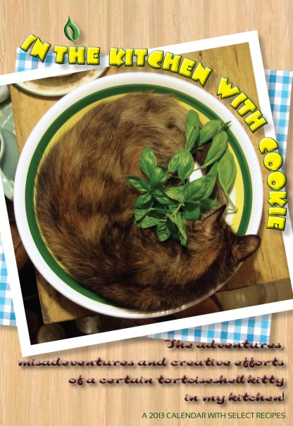 calendar cover showing tortoiseshell cat in pasta bowl